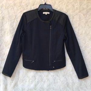 GUC  Ellen Tracy Blue Brocade Moto Jacket SzMED